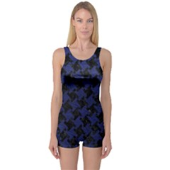 Houndstooth2 Black Marble & Blue Leather One Piece Boyleg Swimsuit by trendistuff