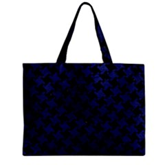 Houndstooth2 Black Marble & Blue Leather Zipper Mini Tote Bag by trendistuff