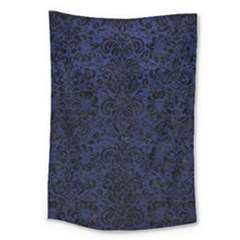 Damask2 Black Marble & Blue Leather (r) Large Tapestry by trendistuff