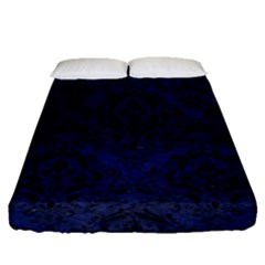 Damask1 Black Marble & Blue Leather (r) Fitted Sheet (queen Size) by trendistuff