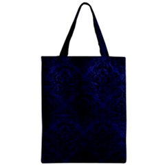Damask1 Black Marble & Blue Leather (r) Zipper Classic Tote Bag by trendistuff