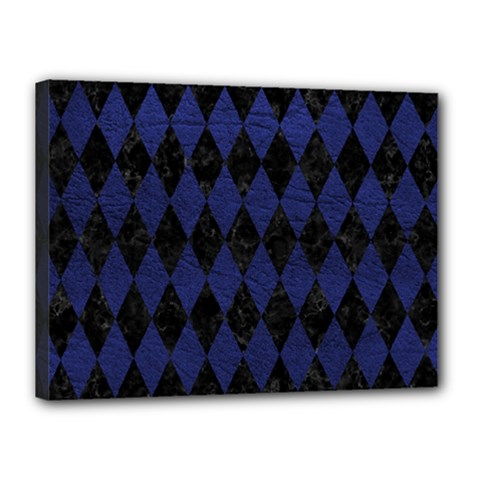 Diamond1 Black Marble & Blue Leather Canvas 16  X 12  (stretched) by trendistuff