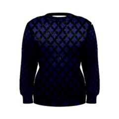 Circles3 Black Marble & Blue Leather (r) Women s Sweatshirt by trendistuff
