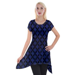 Circles3 Black Marble & Blue Leather (r) Short Sleeve Side Drop Tunic by trendistuff