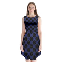 Circles2 Black Marble & Blue Leather (r) Sleeveless Chiffon Dress   by trendistuff