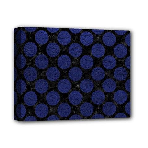 Circles2 Black Marble & Blue Leather Deluxe Canvas 14  X 11  (stretched) by trendistuff