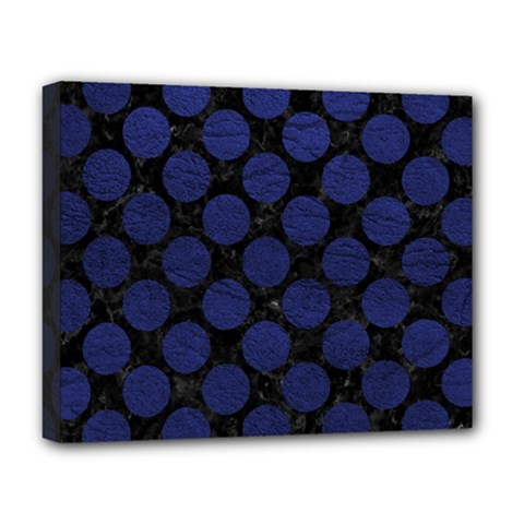 Circles2 Black Marble & Blue Leather Deluxe Canvas 20  X 16  (stretched) by trendistuff