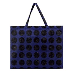 Circles1 Black Marble & Blue Leather (r) Zipper Large Tote Bag by trendistuff