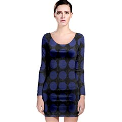 Circles1 Black Marble & Blue Leather Long Sleeve Bodycon Dress by trendistuff