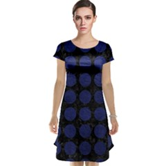 Circles1 Black Marble & Blue Leather Cap Sleeve Nightdress by trendistuff