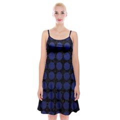Circles1 Black Marble & Blue Leather Spaghetti Strap Velvet Dress by trendistuff