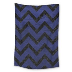 Chevron9 Black Marble & Blue Leather (r) Large Tapestry by trendistuff