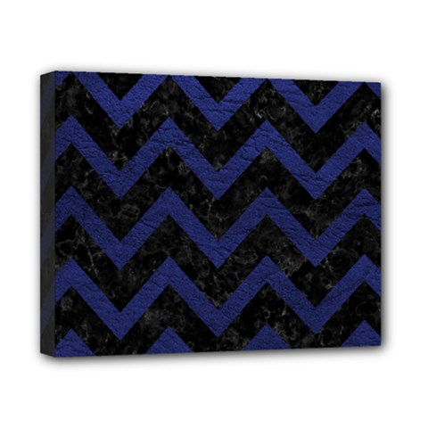 Chevron9 Black Marble & Blue Leather Canvas 10  X 8  (stretched) by trendistuff