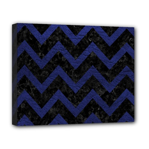 Chevron9 Black Marble & Blue Leather Deluxe Canvas 20  X 16  (stretched) by trendistuff