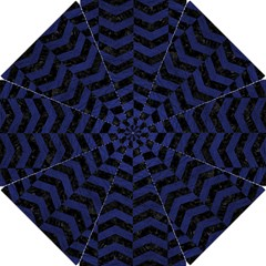 Chevron2 Black Marble & Blue Leather Hook Handle Umbrella (small) by trendistuff