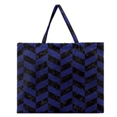 Chevron1 Black Marble & Blue Leather Zipper Large Tote Bag by trendistuff