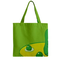 Food Egg Minimalist Yellow Green Zipper Grocery Tote Bag by Alisyart