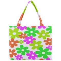 Flowers Floral Sunflower Rainbow Color Pink Orange Green Yellow Mini Tote Bag by Alisyart