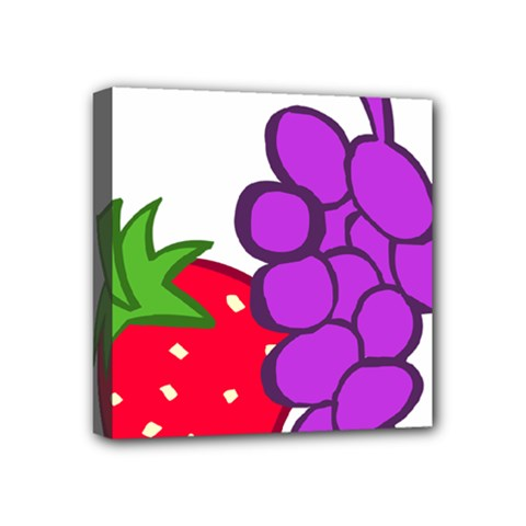 Fruit Grapes Strawberries Red Green Purple Mini Canvas 4  X 4  by Alisyart