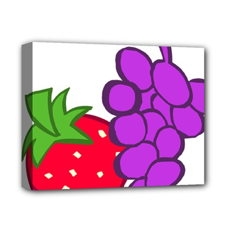 Fruit Grapes Strawberries Red Green Purple Deluxe Canvas 14  X 11  by Alisyart