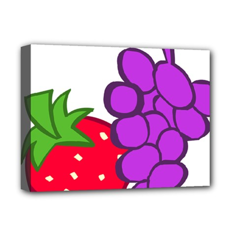 Fruit Grapes Strawberries Red Green Purple Deluxe Canvas 16  X 12   by Alisyart