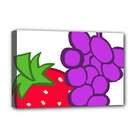 Fruit Grapes Strawberries Red Green Purple Deluxe Canvas 18  X 12   by Alisyart