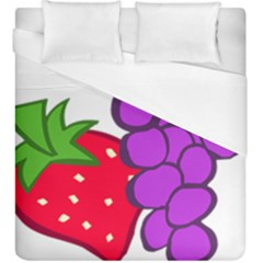 Fruit Grapes Strawberries Red Green Purple Duvet Cover (king Size) by Alisyart