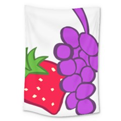 Fruit Grapes Strawberries Red Green Purple Large Tapestry by Alisyart