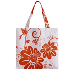 Floral Rose Orange Flower Zipper Grocery Tote Bag by Alisyart