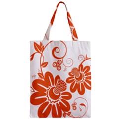 Floral Rose Orange Flower Zipper Classic Tote Bag by Alisyart