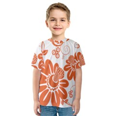 Floral Rose Orange Flower Kids  Sport Mesh Tee by Alisyart