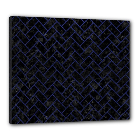 Brick2 Black Marble & Blue Leather Canvas 24  X 20  (stretched) by trendistuff