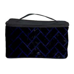 Brick2 Black Marble & Blue Leather Cosmetic Storage Case by trendistuff