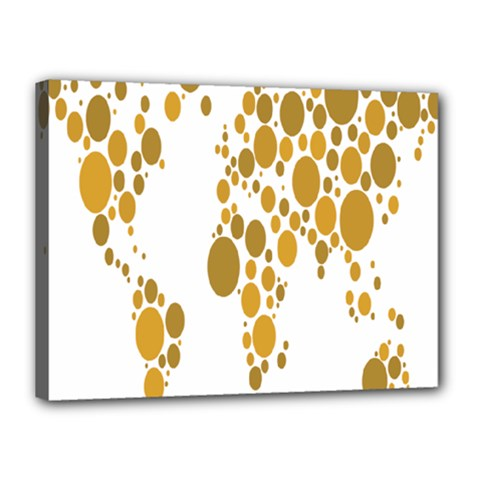 Map Dotted Gold Circle Canvas 16  X 12  by Alisyart
