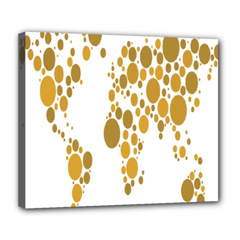 Map Dotted Gold Circle Deluxe Canvas 24  X 20   by Alisyart