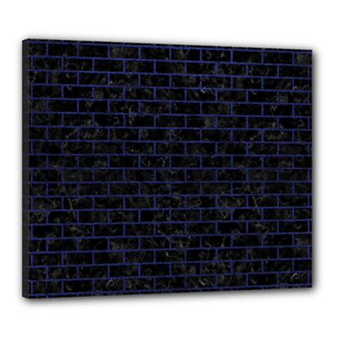 Brick1 Black Marble & Blue Leather Canvas 24  X 20  (stretched) by trendistuff