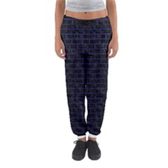 Brick1 Black Marble & Blue Leather Women s Jogger Sweatpants by trendistuff