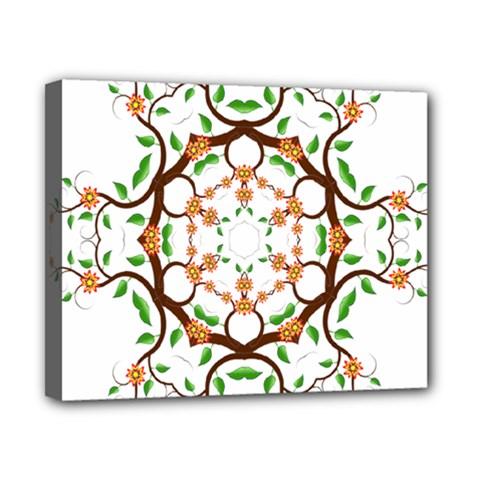 Floral Tree Leaf Flower Star Canvas 10  X 8  by Alisyart