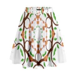 Floral Tree Leaf Flower Star High Waist Skirt by Alisyart