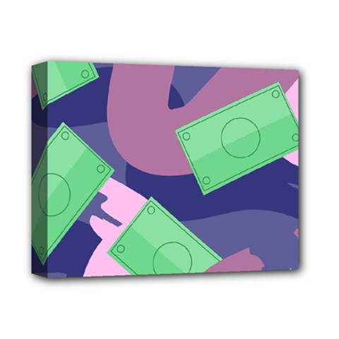 Money Dollar Green Purple Pink Deluxe Canvas 14  X 11  by Alisyart