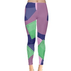 Money Dollar Green Purple Pink Leggings  by Alisyart