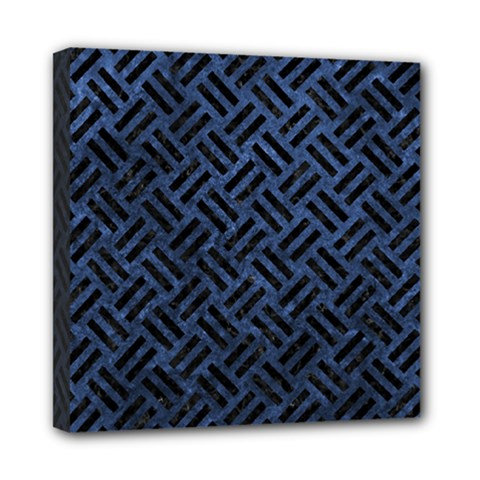 Woven2 Black Marble & Blue Stone (r) Mini Canvas 8  X 8  (stretched) by trendistuff