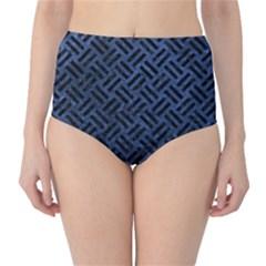 Woven2 Black Marble & Blue Stone (r) High Waist Bikini Bottoms by trendistuff