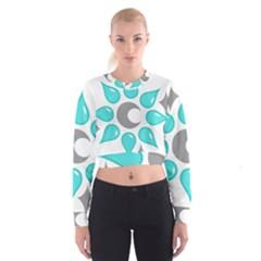 Moon Water Star Grey Blue Women s Cropped Sweatshirt by Alisyart