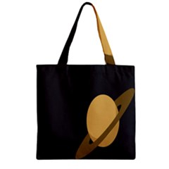 Saturn Ring Planet Space Orange Zipper Grocery Tote Bag by Alisyart