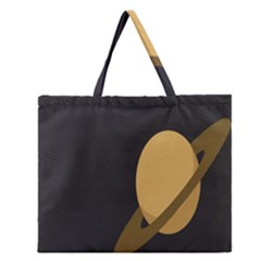 Saturn Ring Planet Space Orange Zipper Large Tote Bag by Alisyart