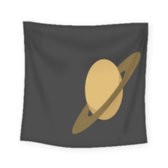 Saturn Ring Planet Space Orange Square Tapestry (small) by Alisyart