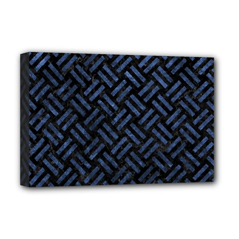 Woven2 Black Marble & Blue Stone Deluxe Canvas 18  X 12  (stretched) by trendistuff