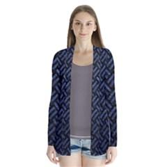Woven2 Black Marble & Blue Stone Drape Collar Cardigan by trendistuff