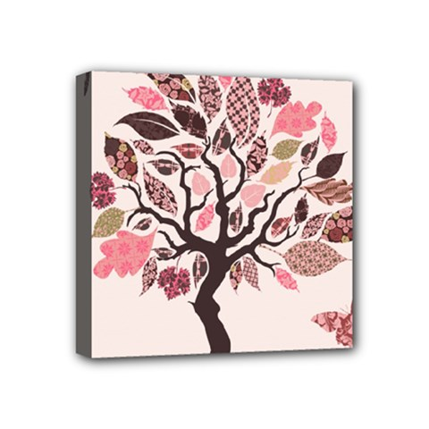 Tree Butterfly Insect Leaf Pink Mini Canvas 4  X 4  by Alisyart